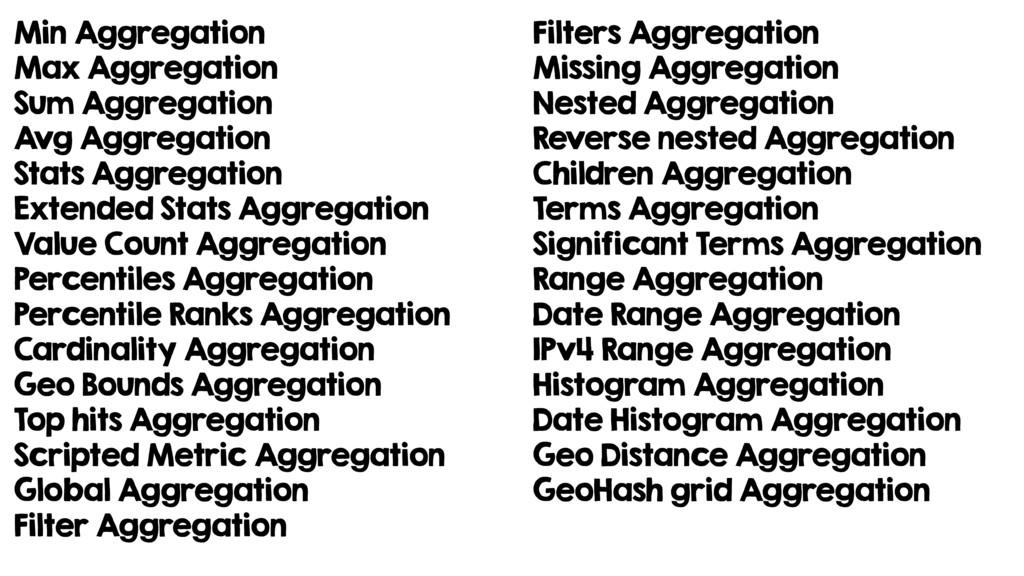 Min Aggregation Max Aggregation Sum Aggregation...