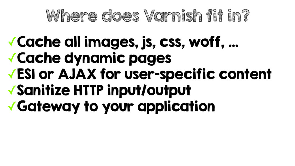 ✓Cache all images, js, css, woff, … ✓Cache dyna...