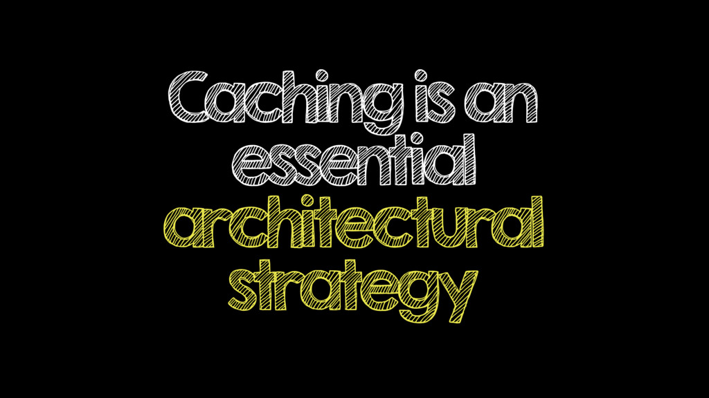 Caching is an essential architectural strategy