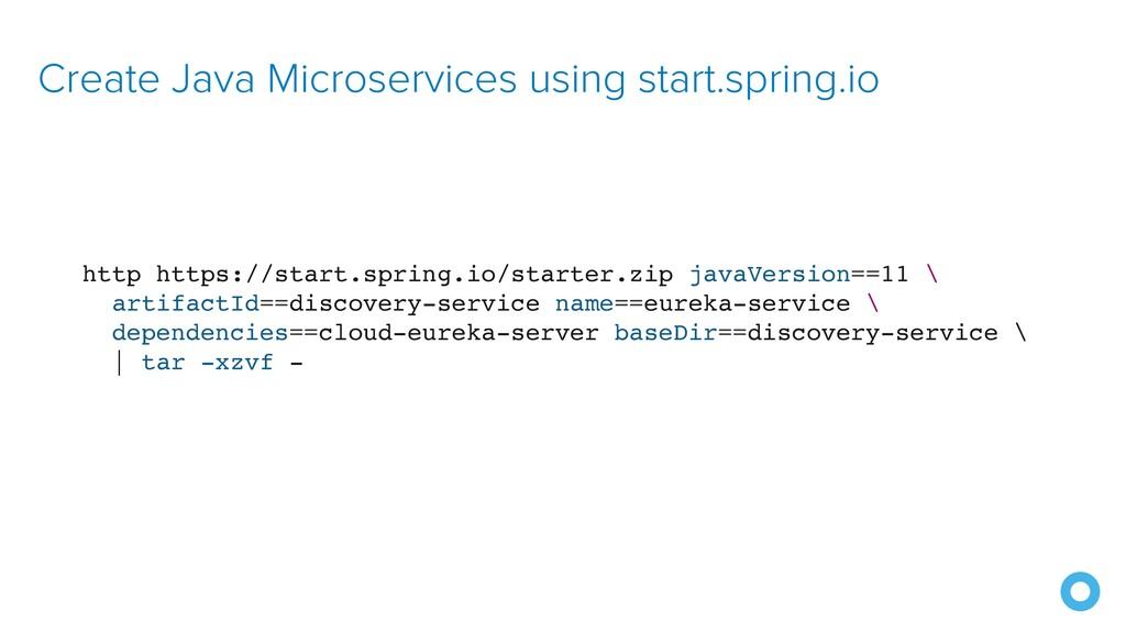 Create Java Microservices using start.spring.io...