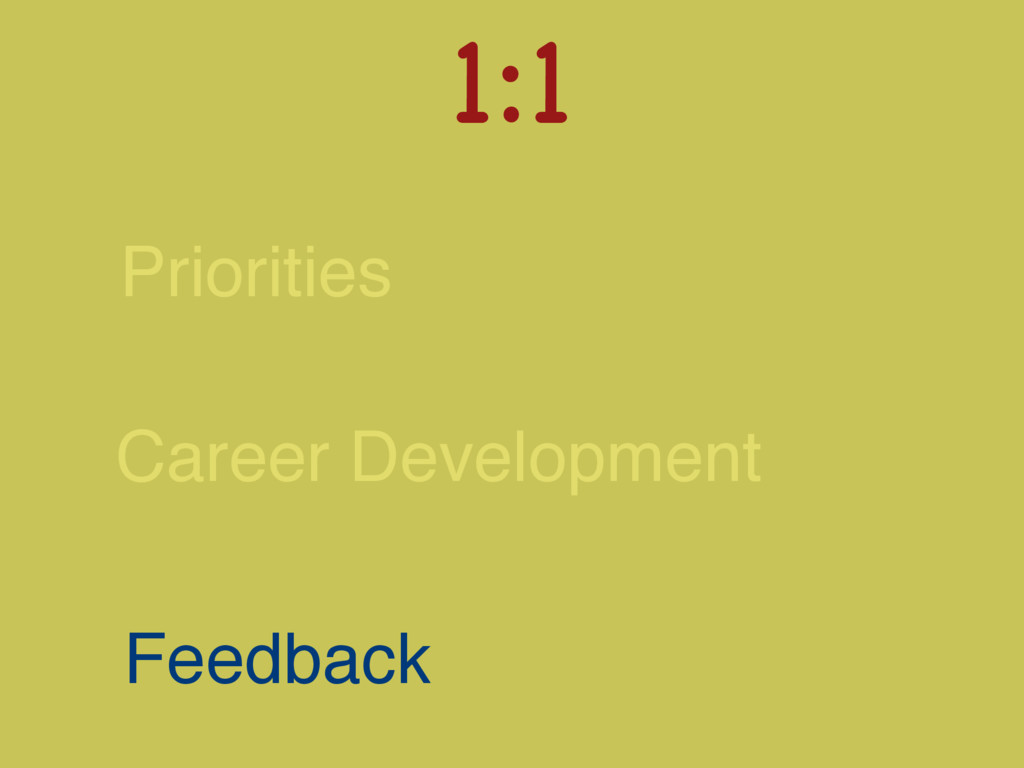 Career Development Feedback 1:1  Priorities