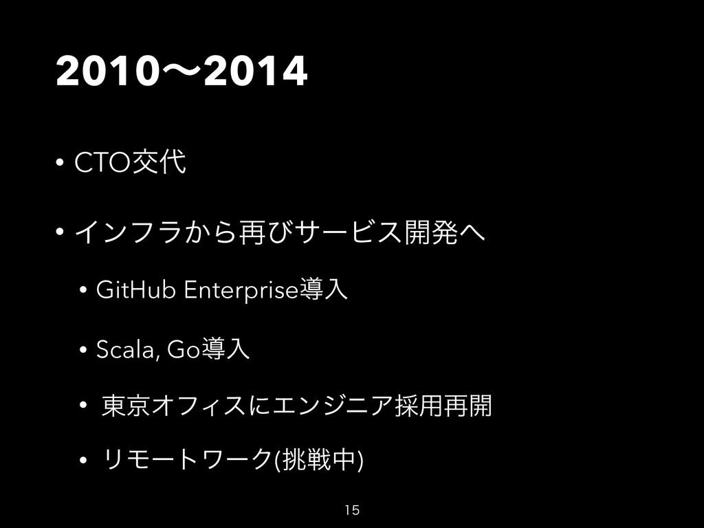 2010ʙ2014 • CTOަ • Πϯϑϥ͔Β࠶ͼαʔϏε։ൃ • GitHub En...