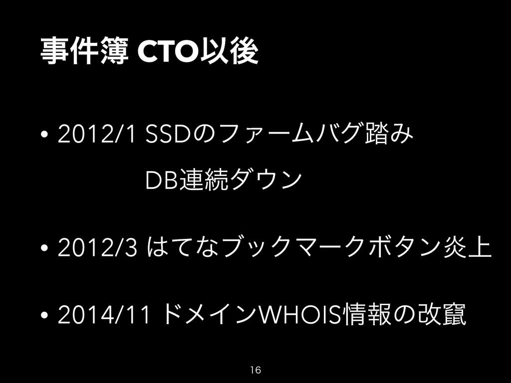 ݅ CTOҎޙ • 2012/1 SSDͷϑΝʔϜόά౿Έ DB࿈ଓμϯ • 2012...