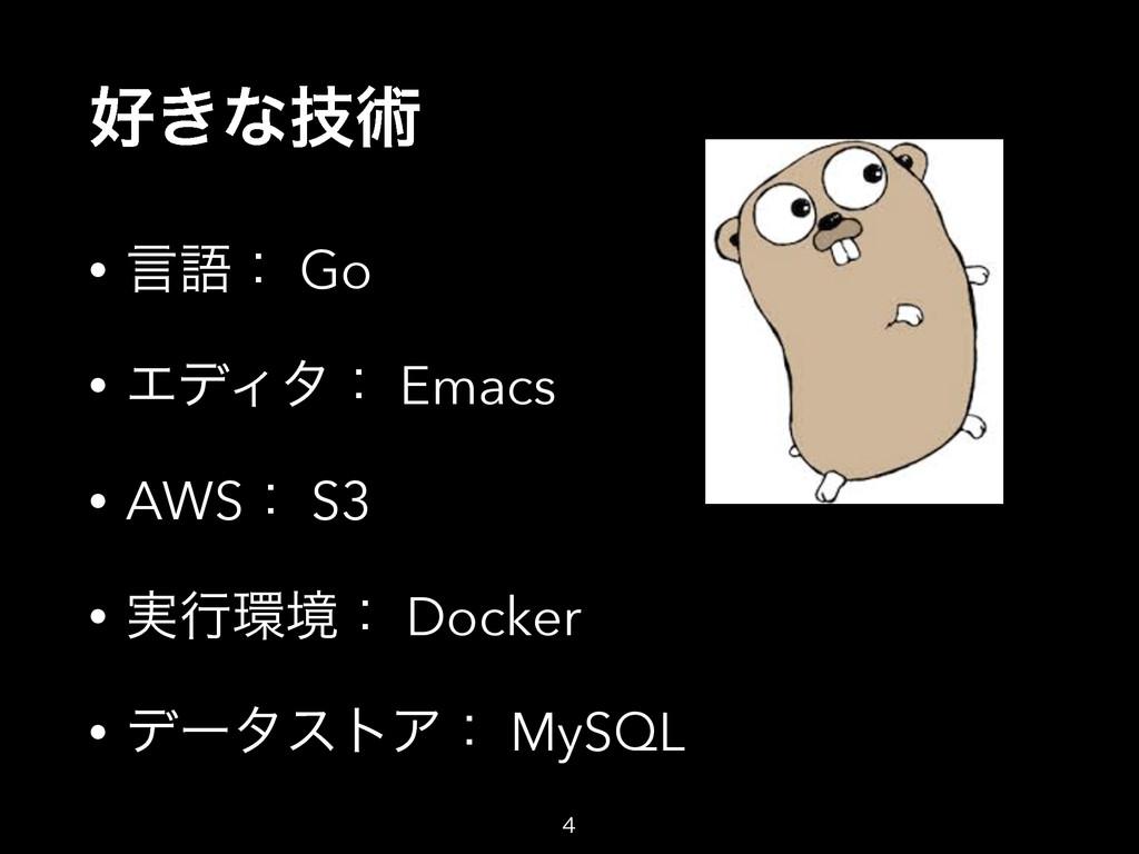 ͖ͳٕज़ • ݴޠɿ Go • ΤσΟλɿ Emacs • AWSɿ S3 • ࣮ߦڥɿ ...