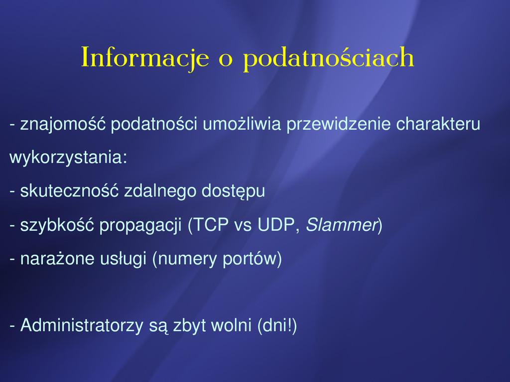 Informacje o podatnościach  znajomość podatnoś...