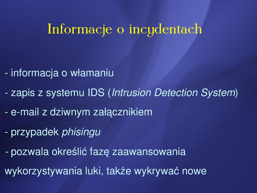 Informacje o incydentach  informacja o włamani...