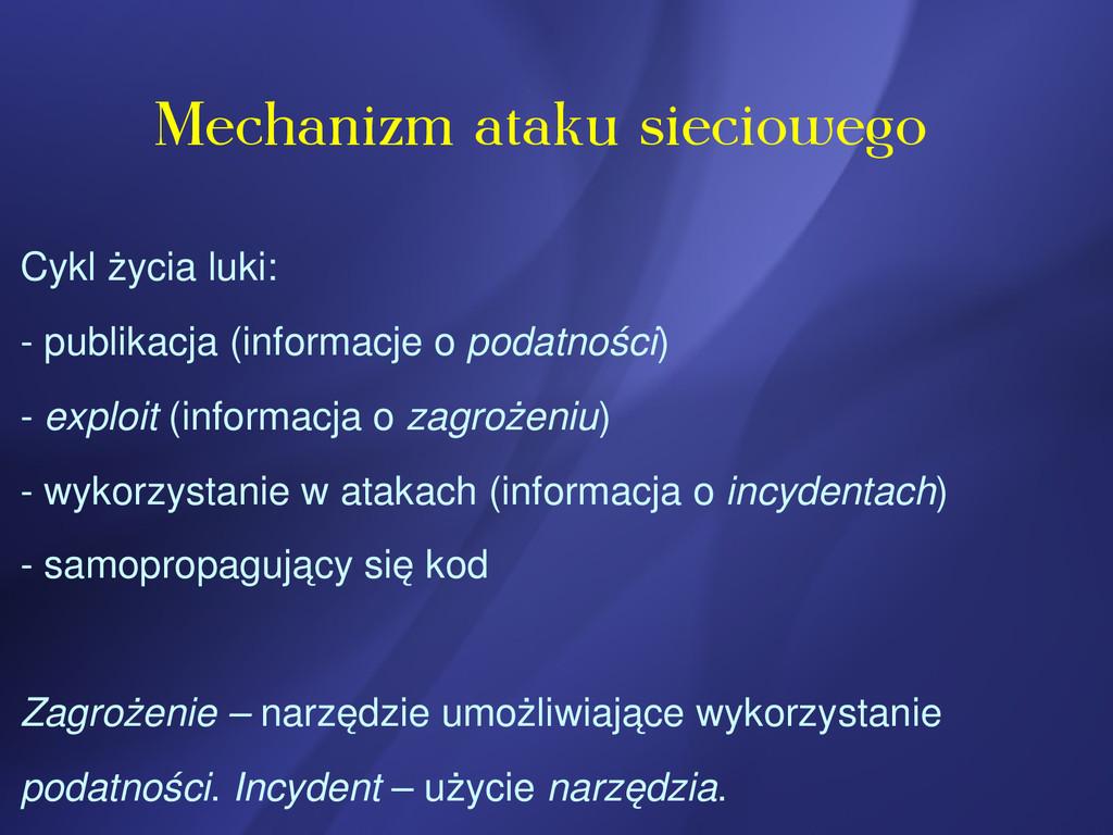 Mechanizm ataku sieciowego Cykl życia luki:  p...