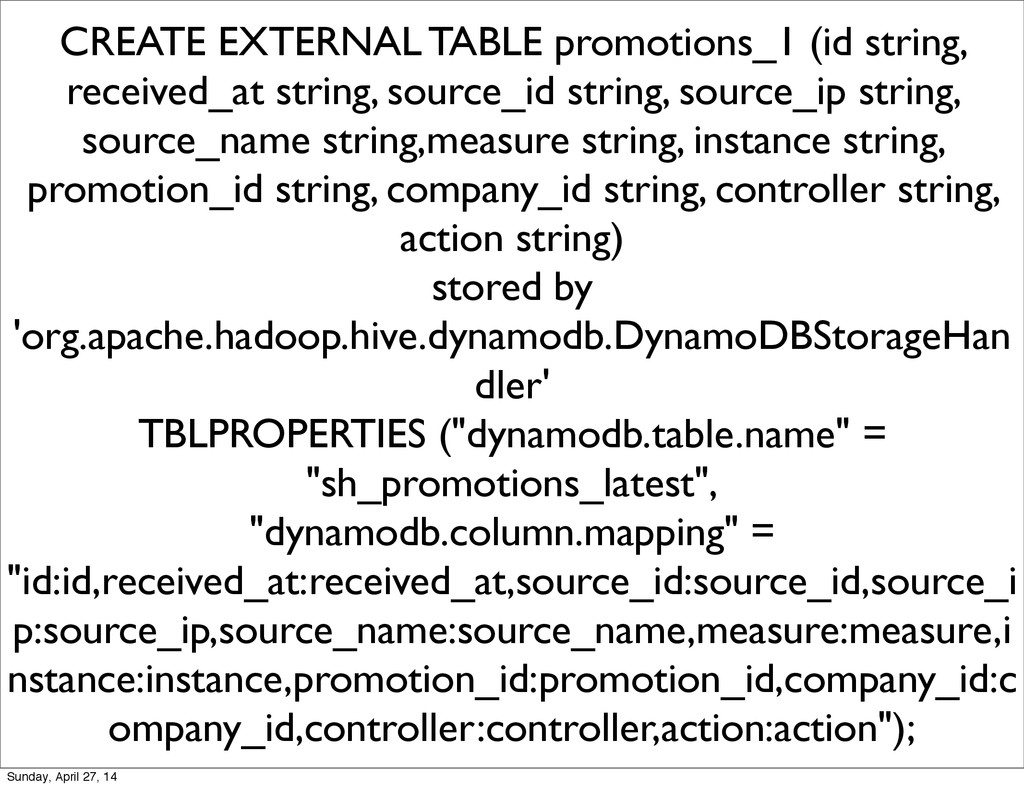 CREATE EXTERNAL TABLE promotions_1 (id string, ...