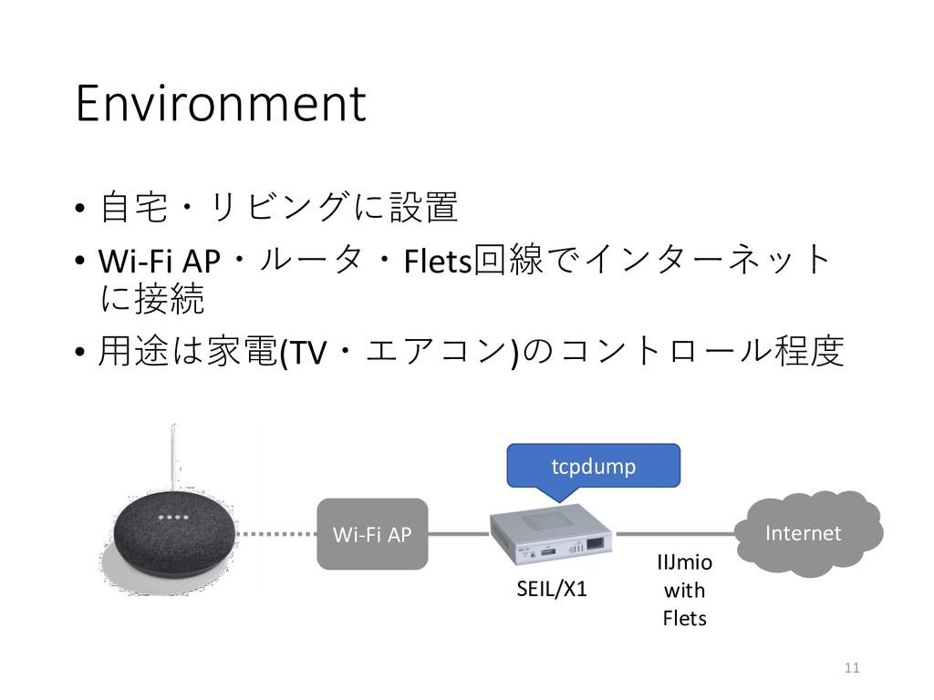 Environment • 自宅・リビングに設置 • Wi-Fi AP・ルータ・Flets回線...
