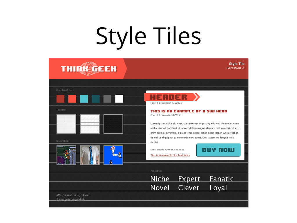 Style Tiles Style Tile variation A Possible Col...