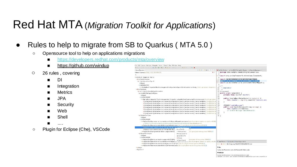 ● Rules to help to migrate from SB to Quarkus (...