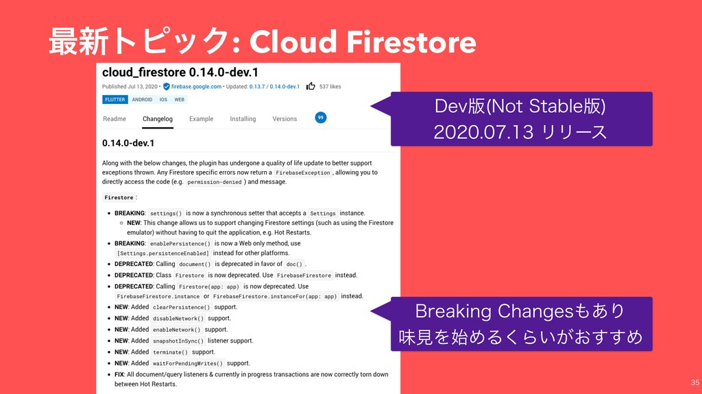 ࠷৽τϐοΫ: Cloud Firestore %FW൛ /PU4UBCMF൛  ...