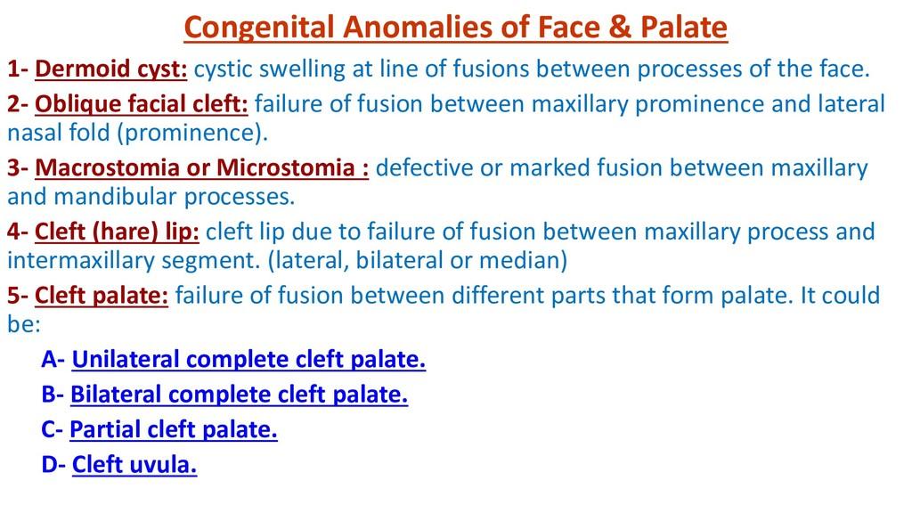 Congenital Anomalies of Face & Palate 1- Dermoi...
