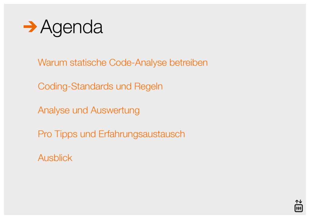 Agenda Warum statische Code-Analyse betreiben C...