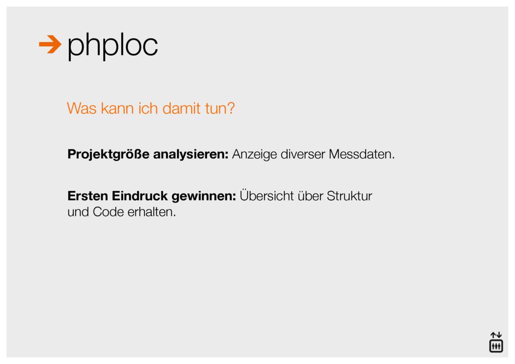 phploc Projektgröße analysieren: Anzeige divers...