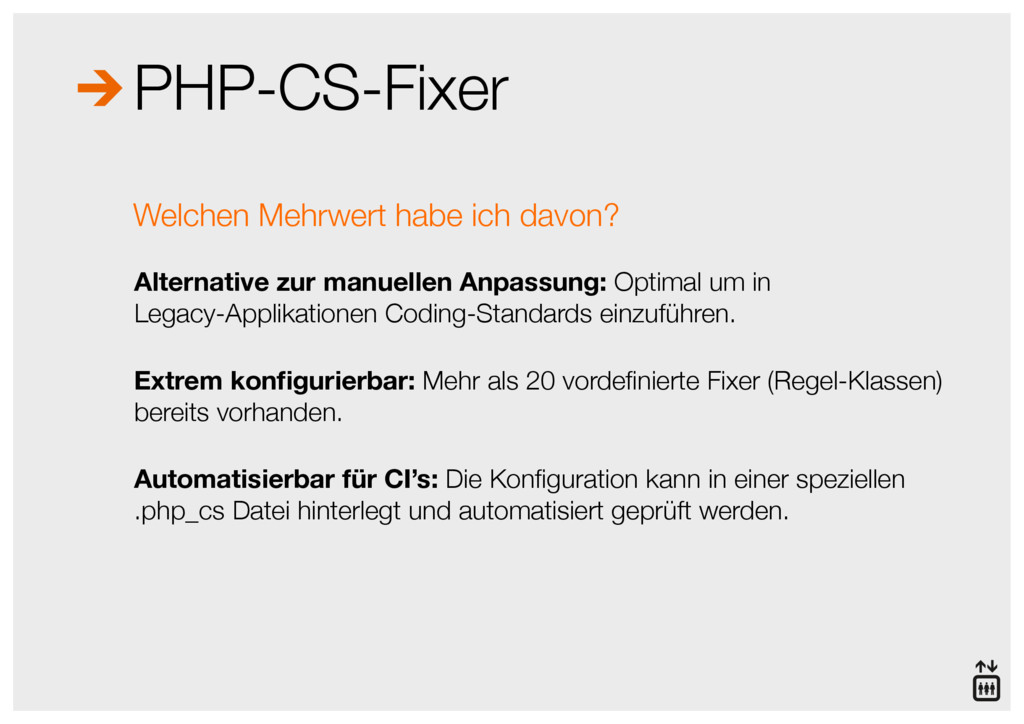 PHP-CS-Fixer Alternative zur manuellen Anpassun...