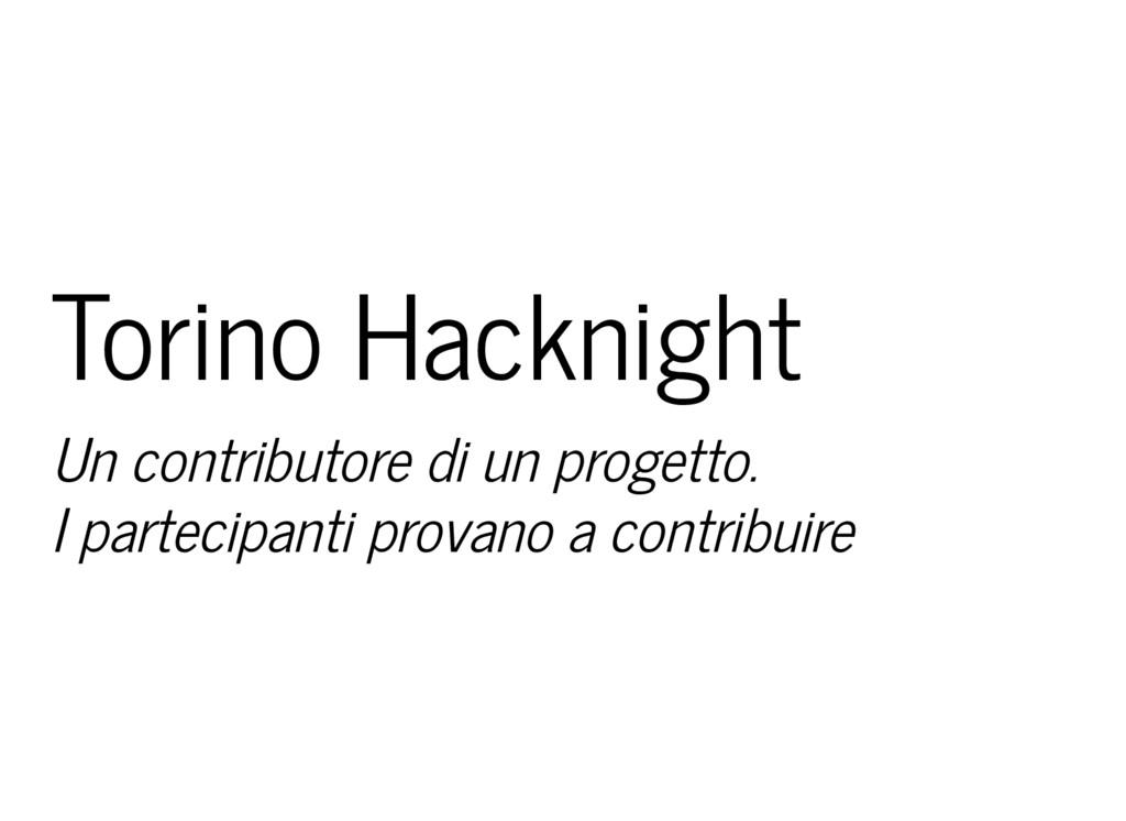 Torino Hacknight Un contributore di un progetto...
