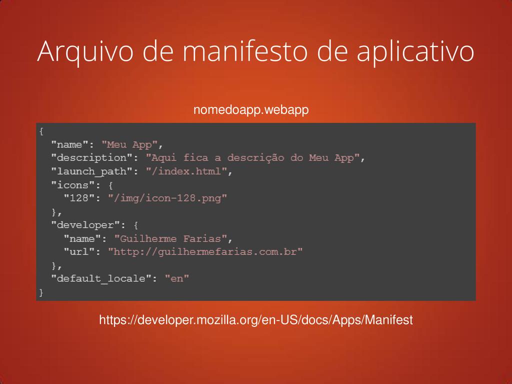 Arquivo de manifesto de aplicativo nomedoapp.we...