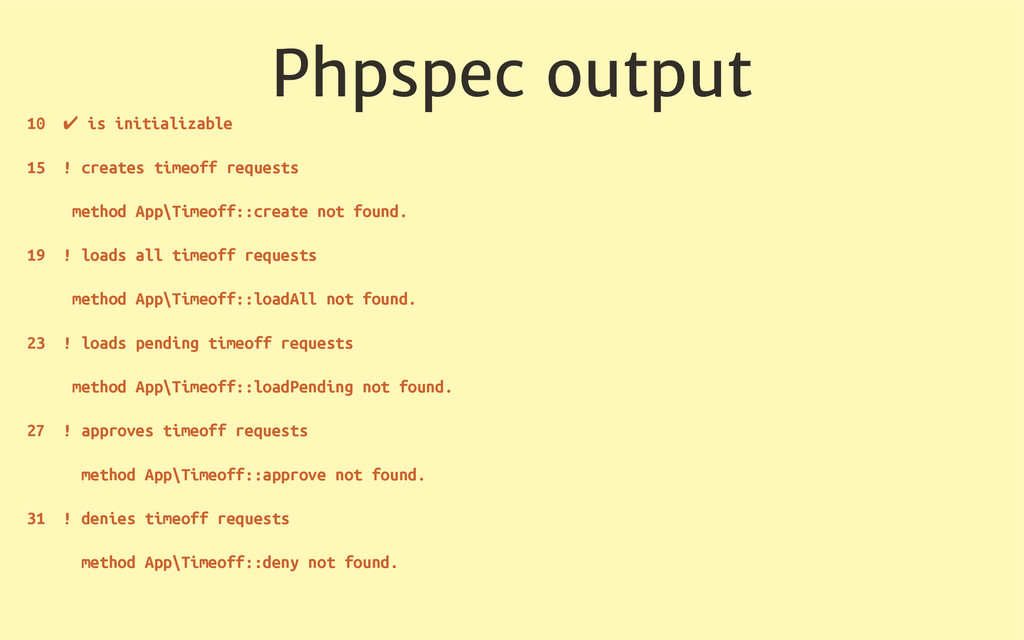 Phpspec output 10 ✔ is initializable 15 ! creat...