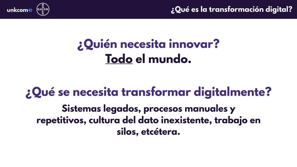 ¿Quién necesita innovar? Todo el mundo. ¿Qué se...