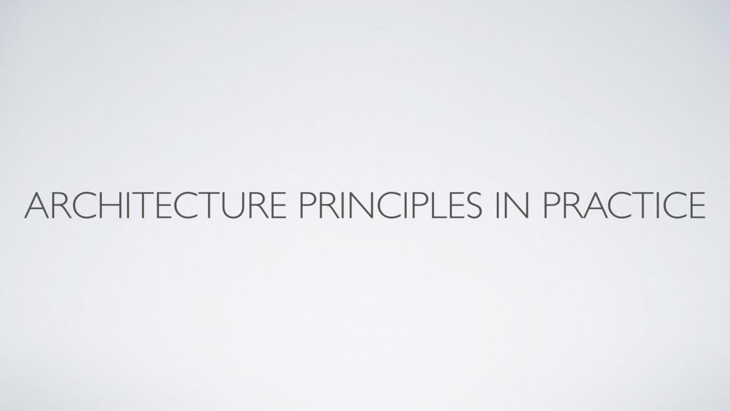ARCHITECTURE PRINCIPLES IN PRACTICE