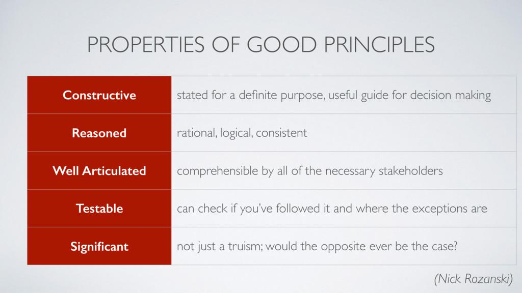 PROPERTIES OF GOOD PRINCIPLES Constructive stat...