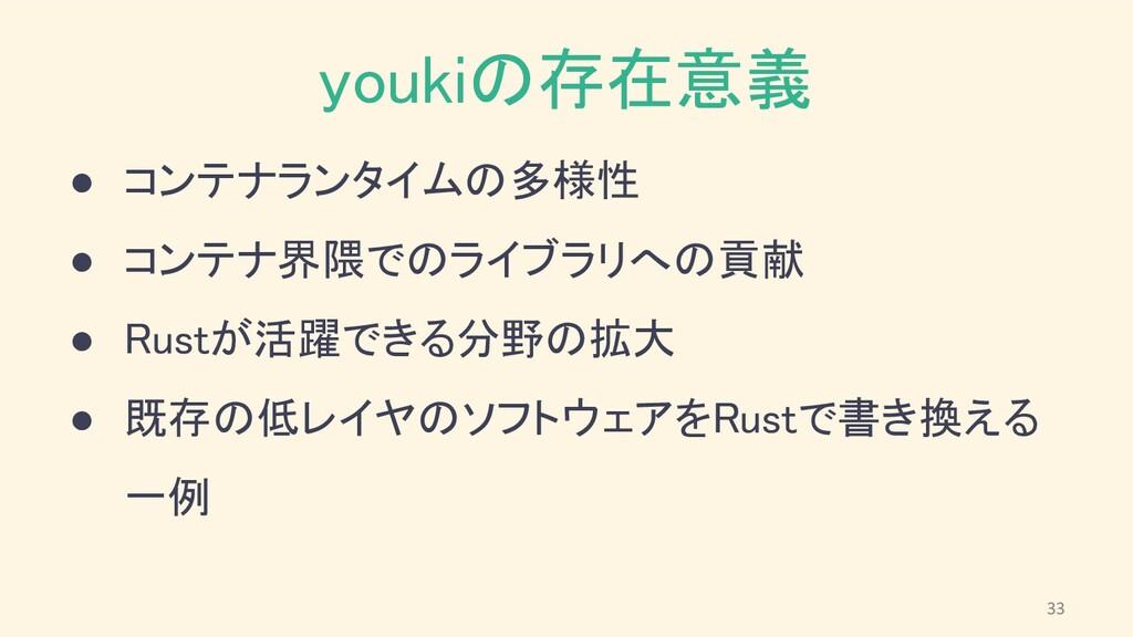 youkiの存在意義 ● コンテナランタイムの多様性 ● コンテナ界隈でのライブラリへの貢...