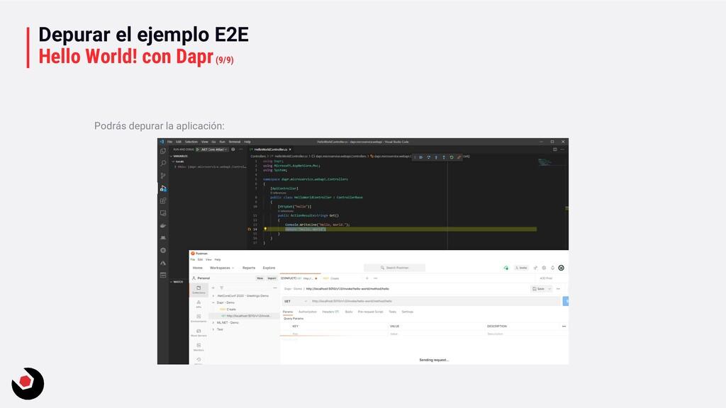 Depurar el ejemplo E2E Hello World! con Dapr(9/...