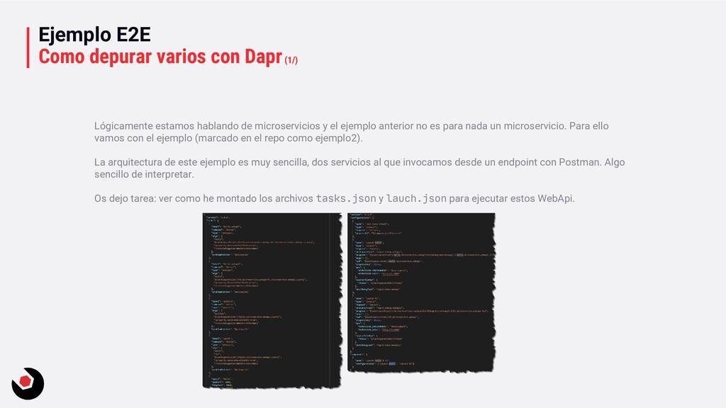 Ejemplo E2E Como depurar varios con Dapr(1/) Ló...