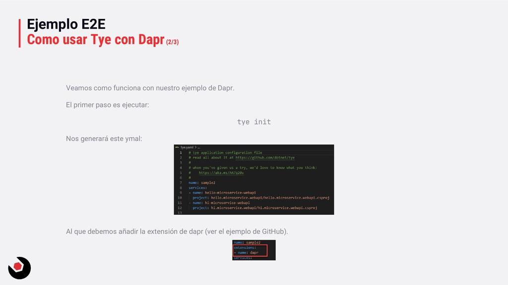 Ejemplo E2E Como usar Tye con Dapr(2/3) Veamos ...