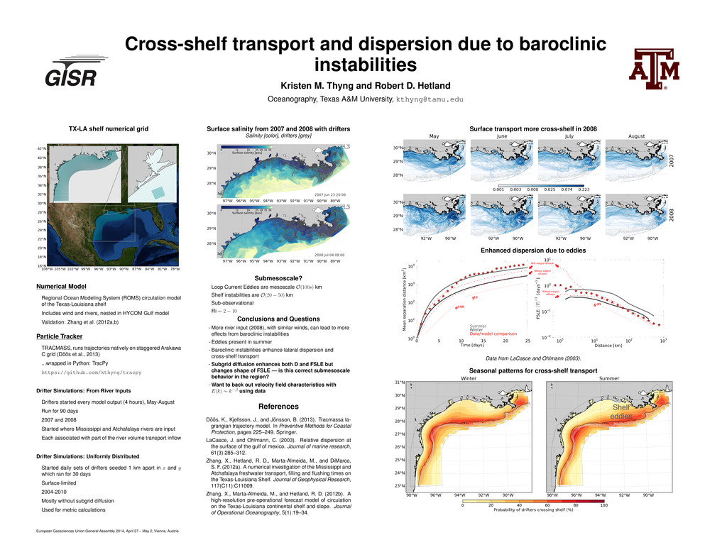 Cross-shelf transport and dispersion due to bar...