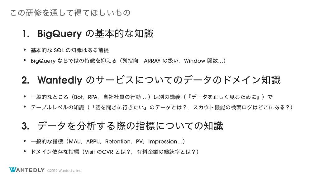 ©2019 Wantedly, Inc. 1. BigQuery ͷجຊతͳࣝ • جຊతͳ...