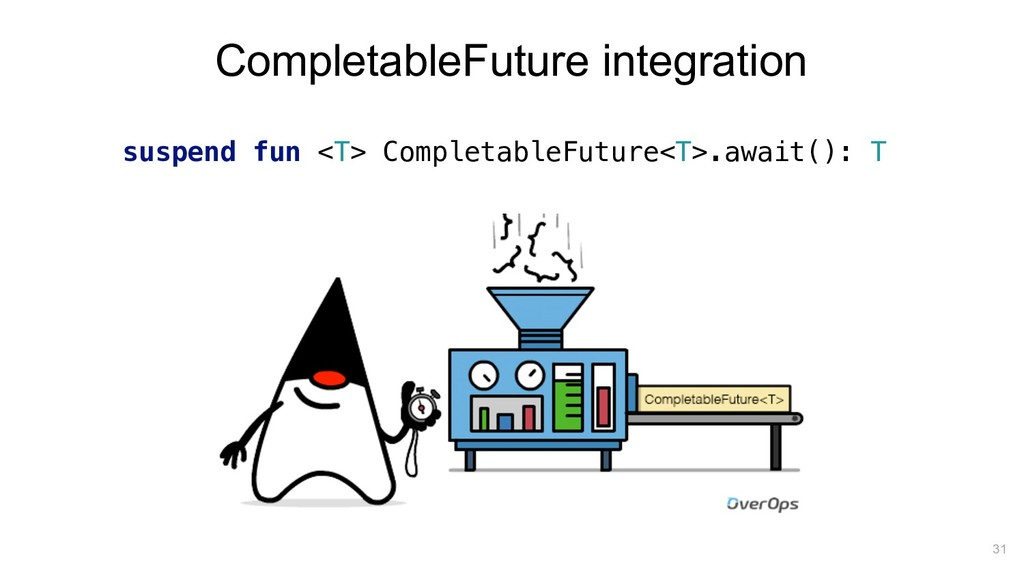 suspend fun <T> CompletableFuture<T>.await(): T...
