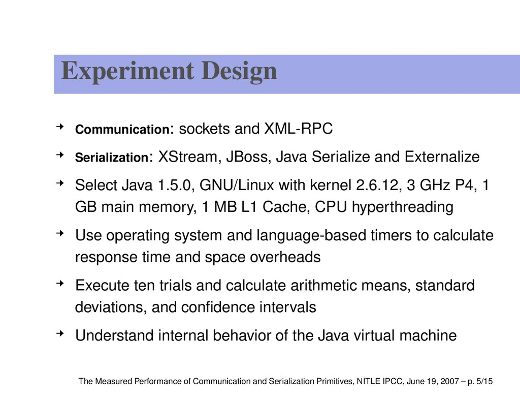 Experiment Design Communication: sockets and XM...