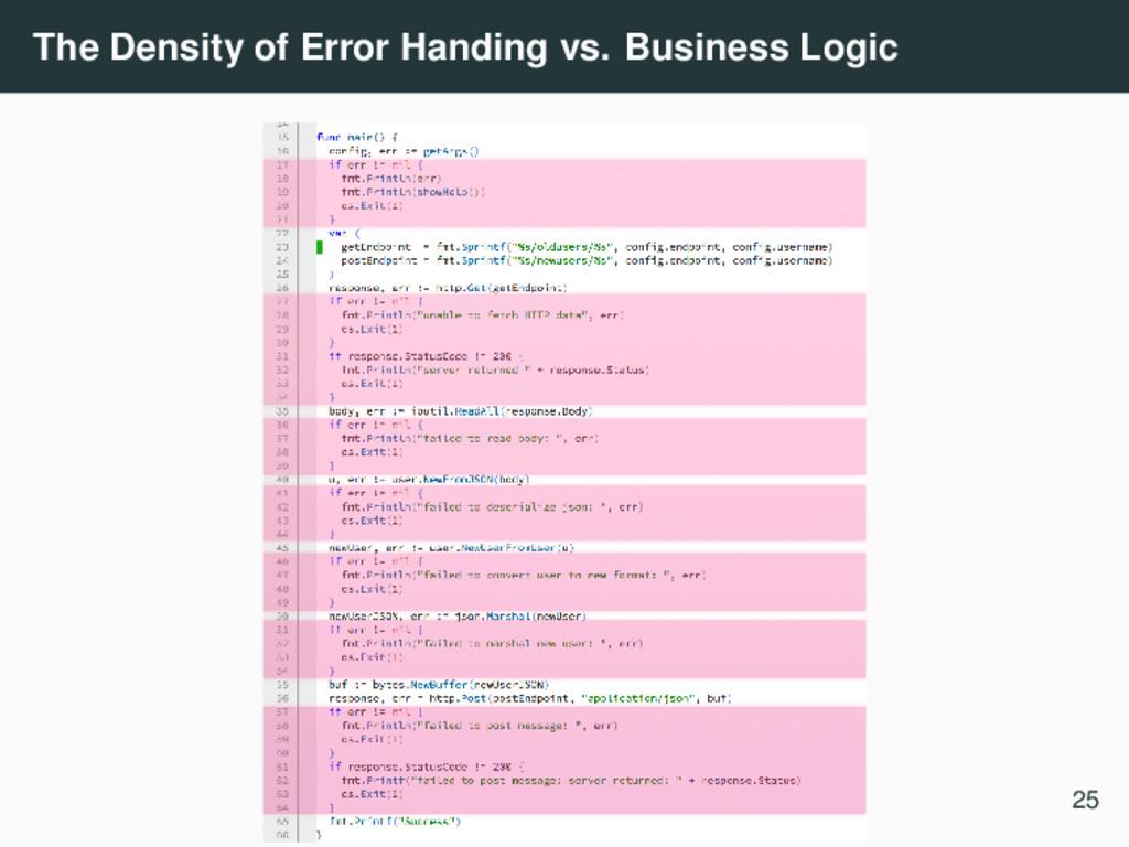 The Density of Error Handing vs. Business Logic...