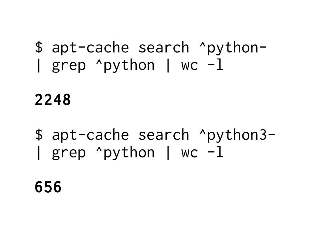 $ apt-cache search ^python- | grep ^python | wc...