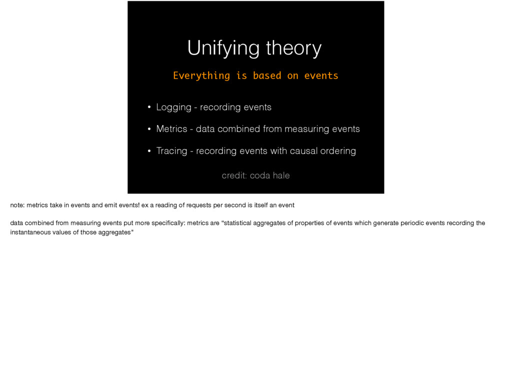 Unifying theory • Logging - recording events • ...
