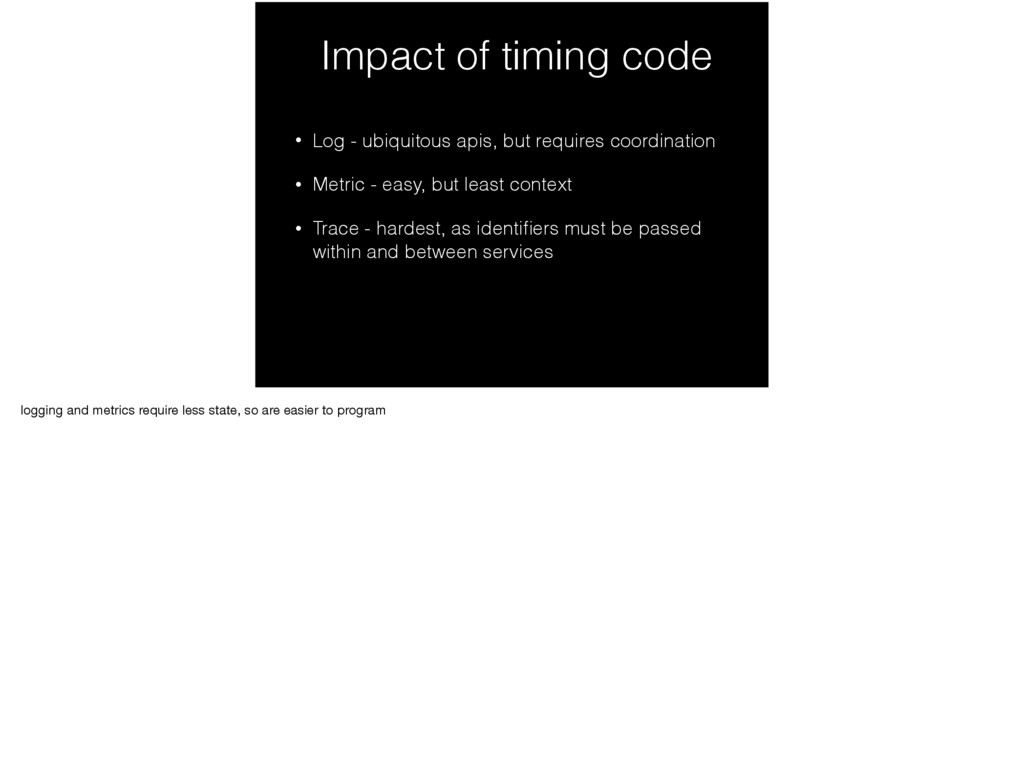 Impact of timing code • Log - ubiquitous apis, ...