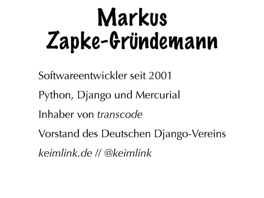 Markus Zapke-Gründemann Softwareentwickler seit...