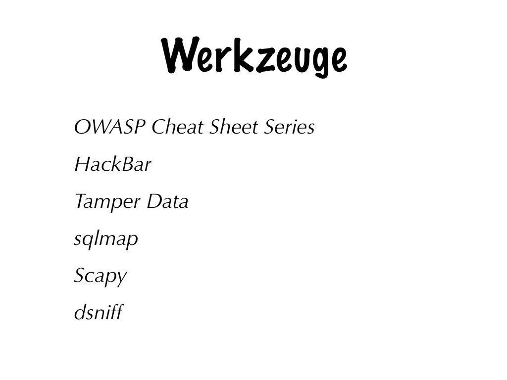 Werkzeuge OWASP Cheat Sheet Series HackBar Tamp...