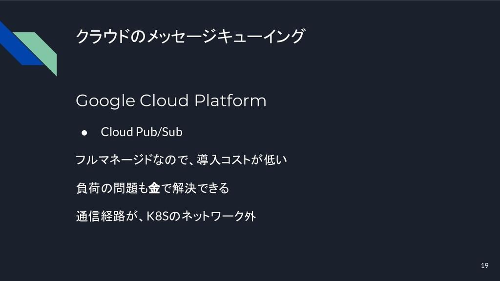 クラウドのメッセージキューイング Google Cloud Platform ● Cloud ...
