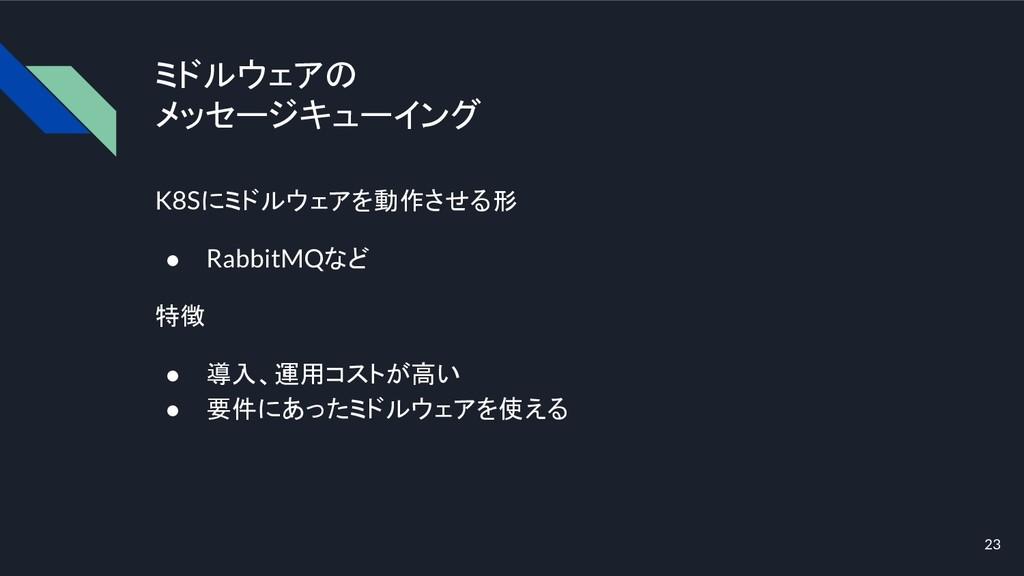 ミドルウェアの メッセージキューイング K8Sにミドルウェアを動作させる形 ● RabbitM...