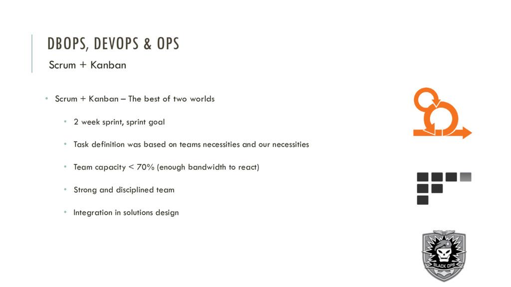 DBOPS, DEVOPS & OPS Scrum + Kanban • Scrum + Ka...
