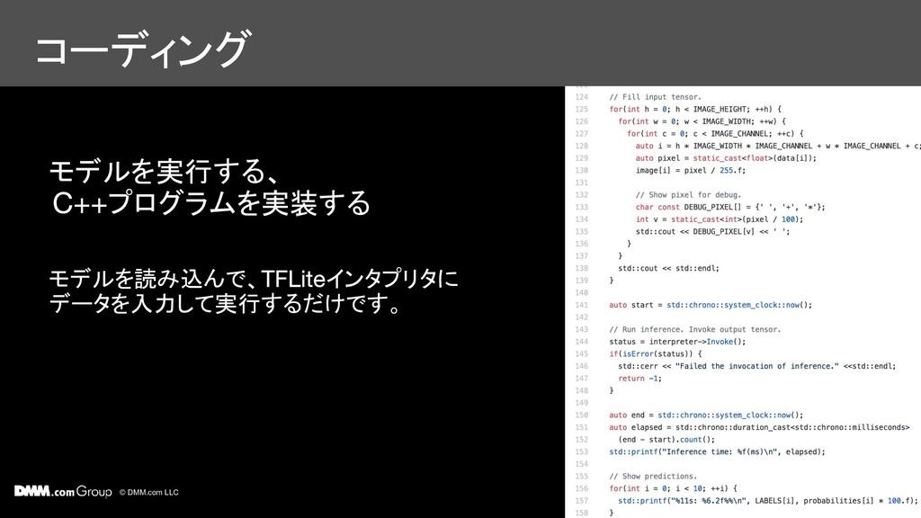 © DMM.com LLC コーディング モデルを実行する、 プログラムを実装する モデルを読...