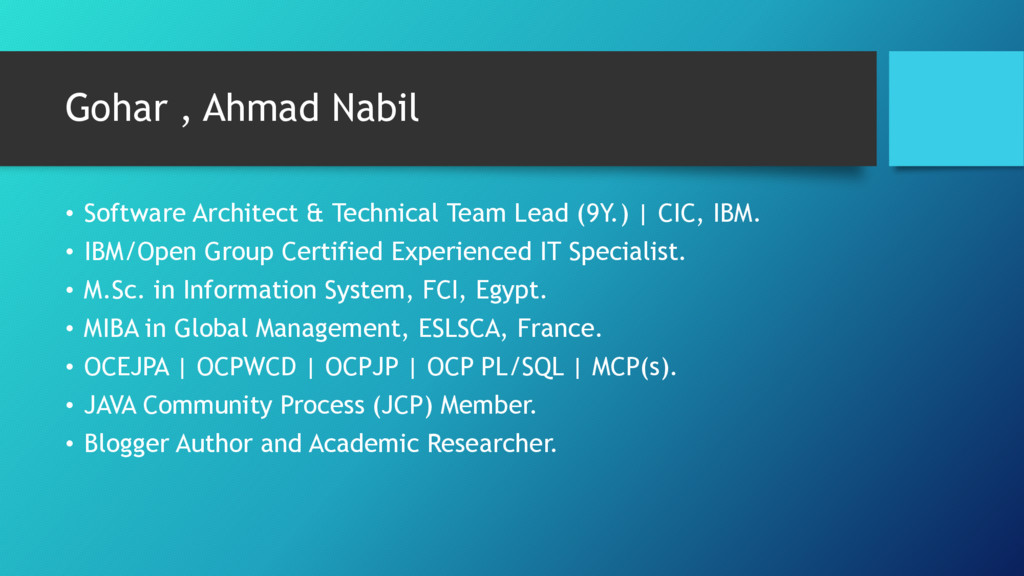 Gohar , Ahmad Nabil • Software Architect & Tech...