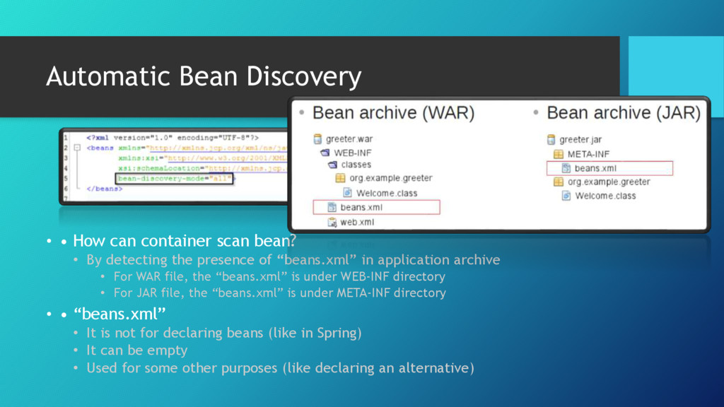 Automatic Bean Discovery • • How can container ...