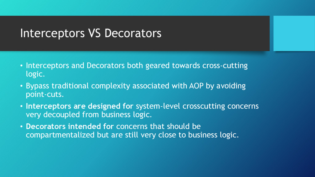 Interceptors VS Decorators • Interceptors and D...