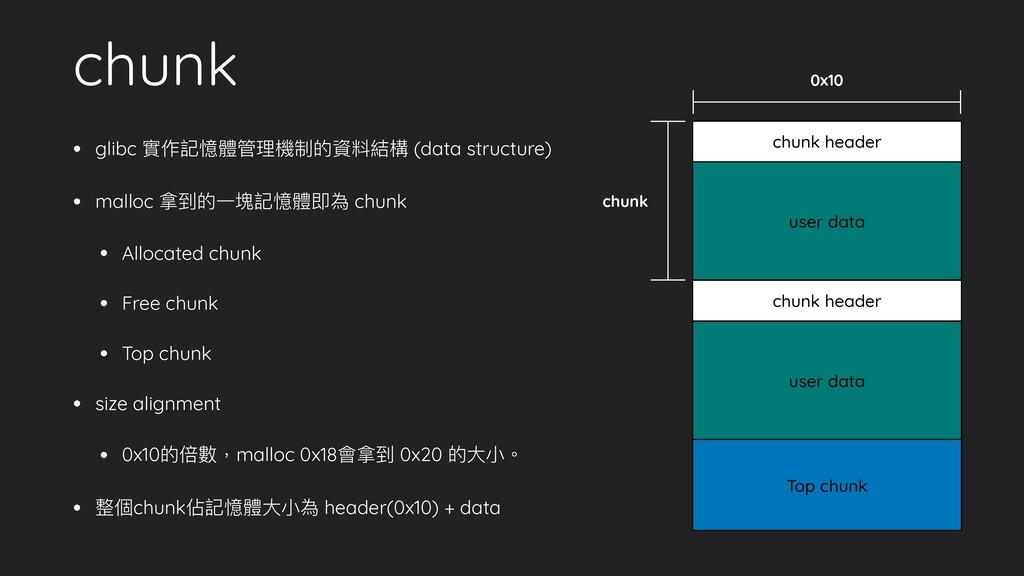 chunk • glibc 實作記憶體管理機制的資料結構 (data structure) •...