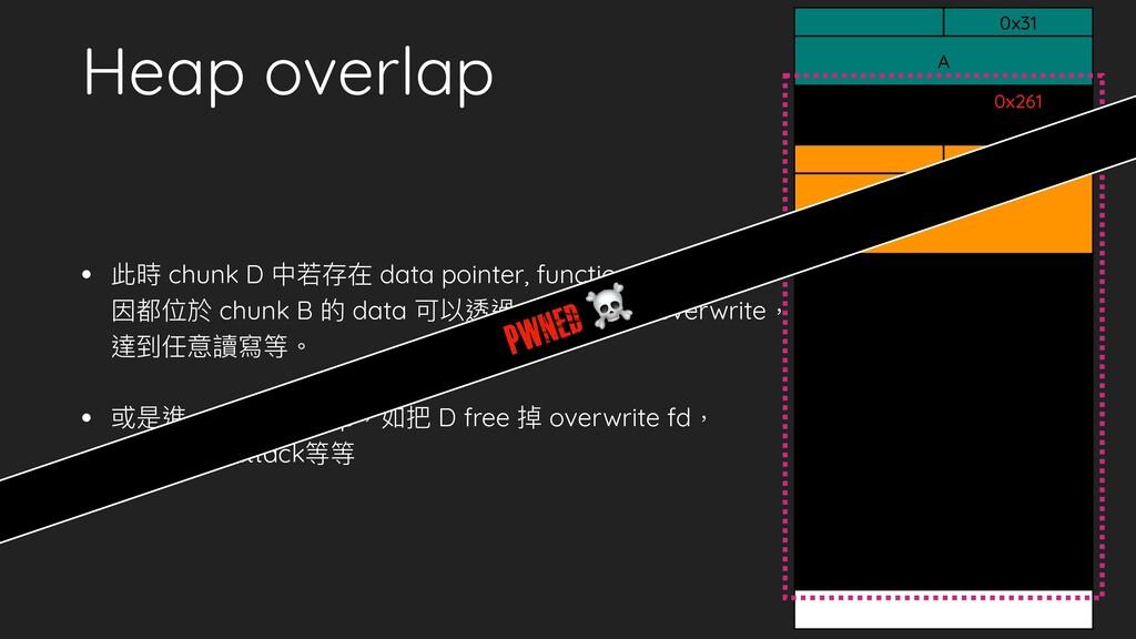 Heap overlap • 此時 chunk D 中若存在 data pointer, fu...
