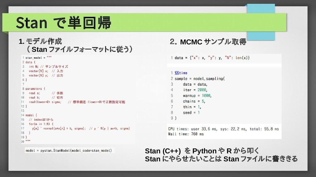 Stan で単回帰 1. モデル作成  ( Stan ファイルフォーマットに従う) 2. MC...